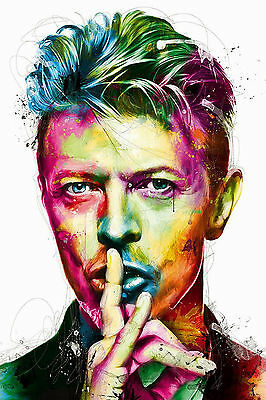 David Bowie Colourful Abstract Portrait a WALL ART CANVAS FRAMED OR POSTER PRINT