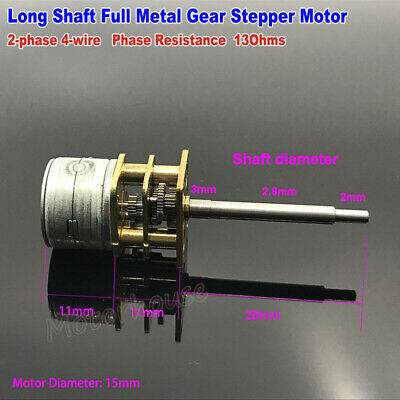 DC 5V 2-phase 4-wire 15mm Mini full metal Gear Stepper Motor Gearbox Long Shaft