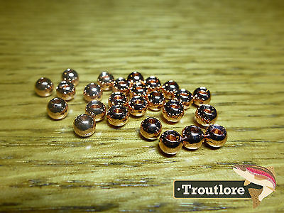 "25 PIECES TUNGSTEN BEAD HEADS COPPER 1/8"" 3.2mm - NEW FLY TYING MATERIALS"