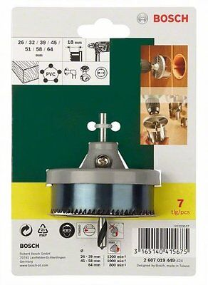 7 BOSCH HOLE SAW KIT CIRCLE CUTTER ROUND DRILL WOOD PVC DOWNLIGHTS 26 - 64mm