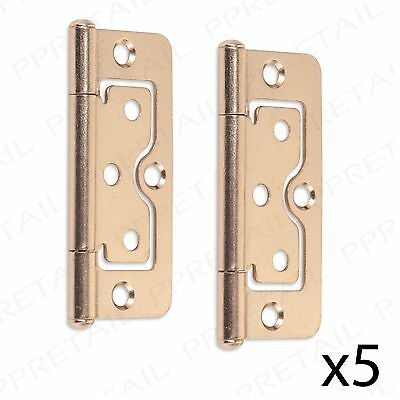 5 PAIRS OF BRASS FLUSH HINGES 75mm Cabinet Wardrobe Cupboard Door Flat Fitting