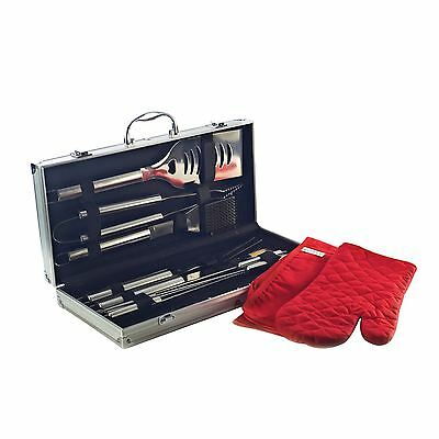 19 Piece Bbq Barbecue Set With Aluminium Storage Carry Box Oven Glove And Apron