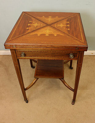 Antique Edwardian Inlaid Mahogany Envelope Card Games Occasional Table