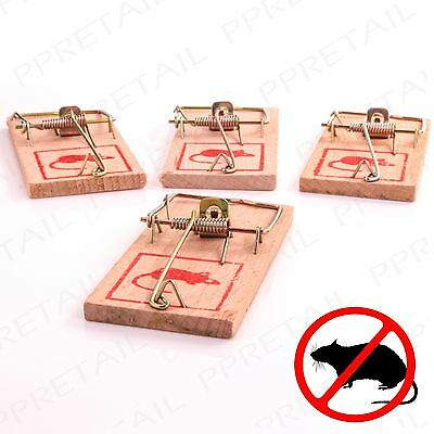 4 x TRADITIONAL REUSABLE WOODEN MOUSE TRAPS Mice/Rodent/Rat Bait Setting Catcher