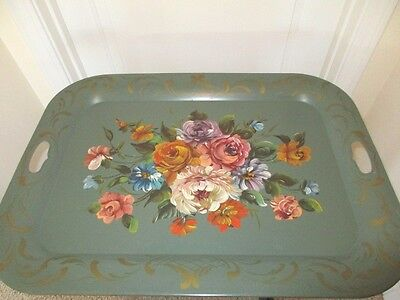 Large Antique Sage Green Hand Painted Garden Flowers Metal Buffet Tole Tray