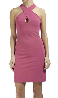 Wool Mix Stretch ladies Classic Chic Crossover pink Dress NEW Size 6 8 10 12