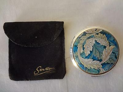 Vintage Stratton Leaves Design Powder Mirror Compact with Original Pouch 3""