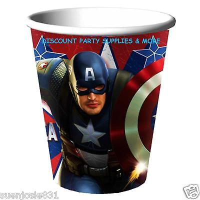 Captain America 9oz Hot Cold Paper Cups 8ct Party Supplies