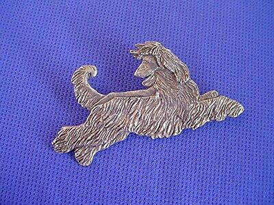 Afghan Hound Pin Leaping Stylized #32E Pewter Dog Jewelry by Cindy A. Conter