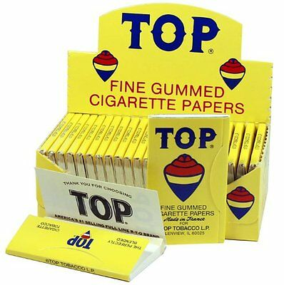 AUTHENTIC Top Fine Gummed Cigarette Rolling Papers 24 Booklets SAME DAY Shipping
