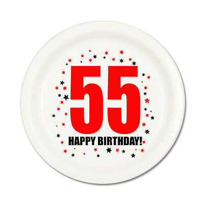 55th BIRTHDAY DESSERT PLATES 8 Pk Small Lunch Plate Birthday Party Supplies T116