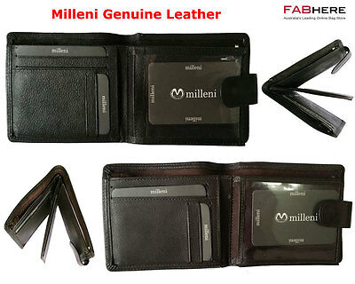Milleni Mens Genuine Italian Leather Trifold Compact Wallet New C10542
