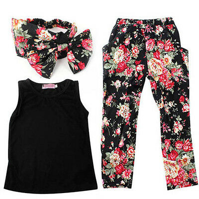 3pcs Fashion Baby Kids Girls Outfits Headband T-shirt Floral Pants Clothes Set