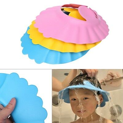 1pc Adjustable Baby Kids Shampoo Bath Bathing Shower Cap Hat Wash Hair Shield