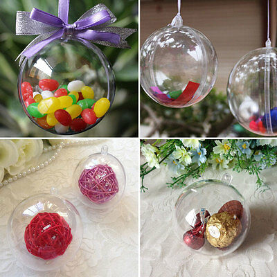 8cm Plastic Clear Christmas Decorations Hanging Ball Baubles Ornament Xmas Tree