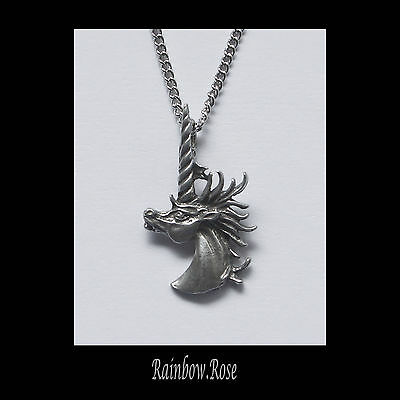Pewter Necklace on chain #67 UNICORN HEAD - Silver Tone