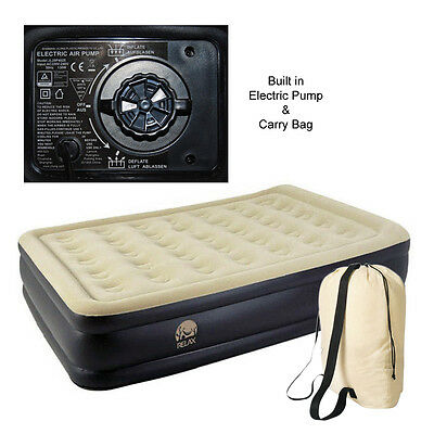 Inflatable Extra High Raised Air Bed Mattress Airbed Built In Electric Pump