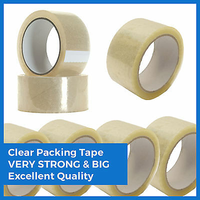 CLEAR PARCEL PACKING STRONG TAPE 66m x25mm ROLLS PACKAGING SELLOTAPE SEALING BOX