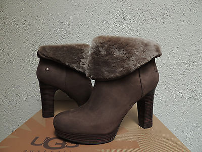 21ebdcae7be UGG DANDYLION TRES Black Leather Knit Ankle Boots Womens Us 9.5 Nib ...