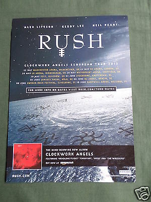 Rush - Magazine Clipping / Cutting- 1 Page Advert -#2