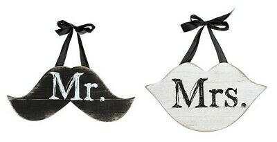 MR & MRS MUSTACHE & LIPS Shabby Chic Hanging WEDDING SIGNS 2 piece Wooden RUSTIC