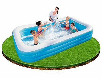 """Bestway Deluxe Family Pool Blue & White 10FT x 6Ft x 22"""" Swimming Paddling"""