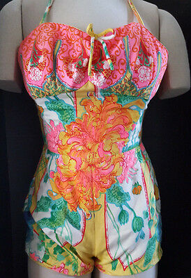 1 Pc SWIM SUIT 50's Gabar NY Floral Romper Bloomers Sz 12 Made in USA Vintage