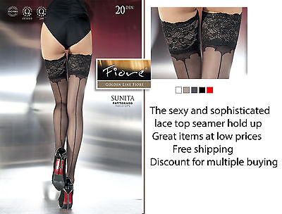 Sensuous Fiore Golden Line Sunita Sensuous Deep Lace Seamed Hold-ups 20 Denier