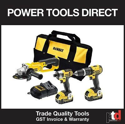 New Dewalt 18V Cordless 3 Piece Kit - Hammer Drill Impact Driver & Angle Grinder