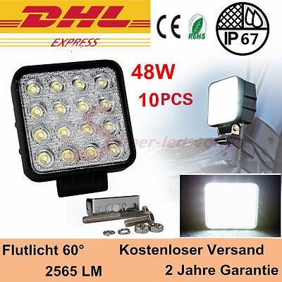 10x 48w LED Flood Spot Work Light Tractor offroad Jeep 4WD 12V 24V 4560LM Square