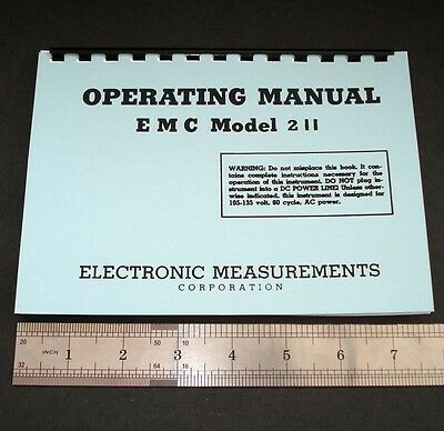 "Manual and Test Data for EMC Model 211 Tube Testers, Dated 1960 5.5x8"" format"