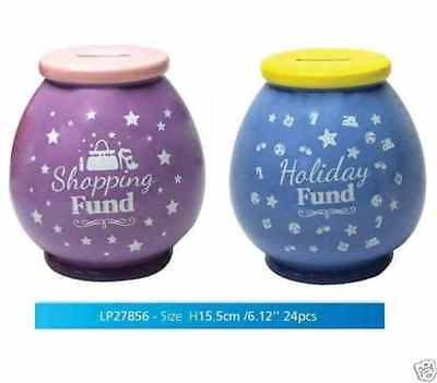 Novelty Ceramic Money Saving Pot Box Jar Bank Gift Holiday Fund & Shopping Fund