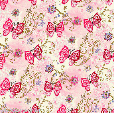 Dolls House Wallpaper 1/12th 1/24th scale Pink Butterflies Quality Paper #336