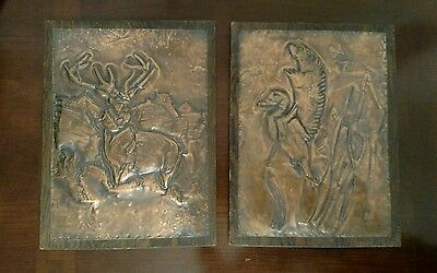 3-D Hand Hammered Copper Deer Duck Hunting Picture On Wood Set