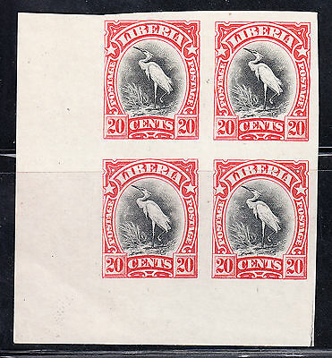 Liberia # 106 NH Imperforate Color Trial Block RED Fauna Bird (NG As Always)