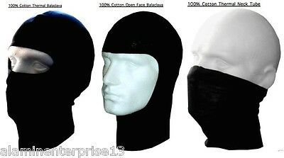 New 100% Cotton Thermal Balaclava Mask Neck Warmer Motorbike Snood Open Face--