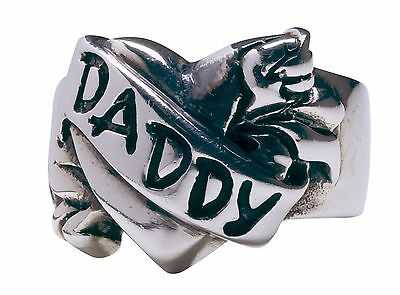 Daddy Tattoo Sterling Silver Ring by Femme Metale .925  Sizes 5-10 Unisex