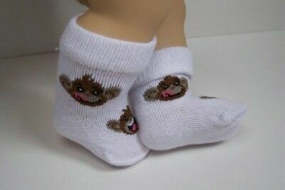 WHITE Socks w//BROWN Monkey Doll Clothes For Bitty Baby Boy or Girl Twin Debs