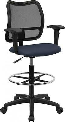 Flash Furniture Mid-Back Mesh Drafting Stool w/Navy Blue Fabric Seat & Arms  NEW