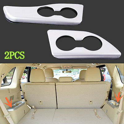 2X ABS Plating Third Seats Water Cup Frame Decoration for Toyota Highlander 2015