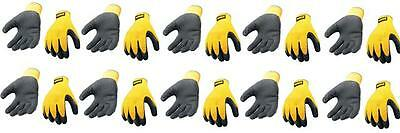 Dewalt Gripper Builders Work Gloves Rubber Coated Size Large *pack Of 10 Pairs*