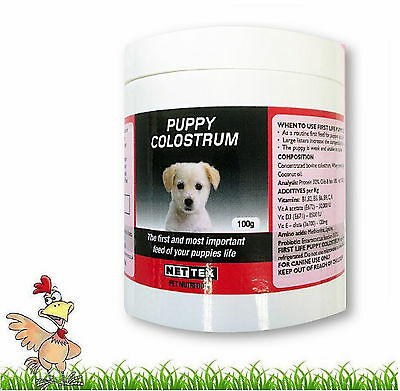 NET-TEX FIRST LIFE COLOSTRUM FOR PUPPIES - 100g TUB COL-LATE