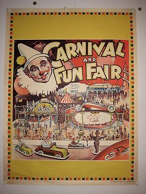 Original Carnival and Funfair clown poster printed by Willsons 1930s