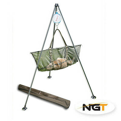 NGT Carp Match Fishing Weighing Tripod System With Large Mud Feet + Carry Case
