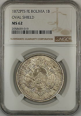 1872-PTS FE Oval Shield Bolivia 1B Boliviano Silver Coin NGC MS-62