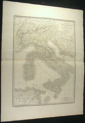 Italy 1831 Lapie fine large old vintage antique map