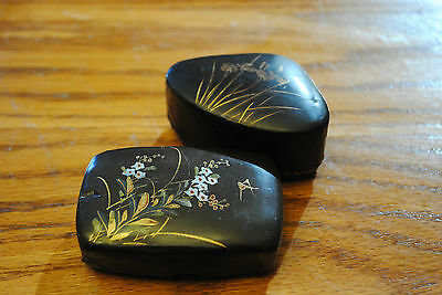 A Pair of Japanese Lacquer Snuff or Pill boxes