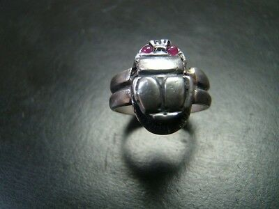 Fine Egyptian Style Sterling silver Scarab ring with genuine cabochon rubies