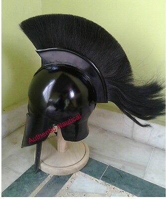Vintage Look Corinthian Roman Helmet with Black Plume / Decorative Roman Helmet