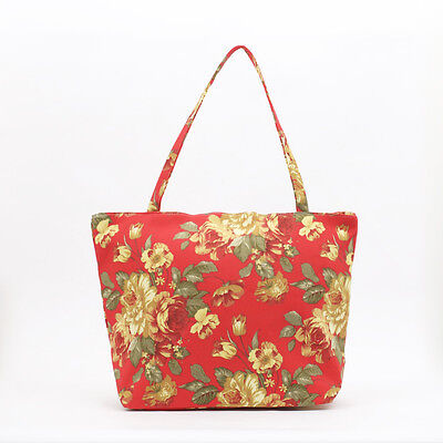 NEW vintage antique red yellow rose   Peony Shopper Tote Beach Bag, Knitting Bag
